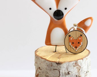 Fox Cross Stitch Keychain Kit with Bamboo Wood *Modern Embroidery DIY Kit