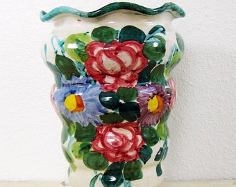 Italian Vase - Floral Vase - Vintage Vase - Flower Vase - Ceramic Vase - 1950's Vase - Home Decor - Hand Painted - Table Decor