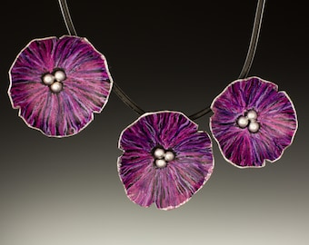 Three Purple Poppies Necklace