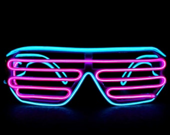 GloFX Luminescence Shutter Frames- Cyan and Pink  Tinted Lenses 3 modes Solid On, Flashing, and Sound Activated 3ft. Wire 2 AAA batteries