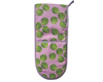 Hand Drawn Pink Sprout Cotton Double Oven Gloves