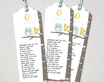 Owl & Birch Baby Shower Bookmark Enclosures - Digital File ( I design + YOU print)