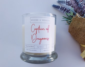 """Wicks + Words - """"Captain of Dragoons"""" - Outlander Inspired Natural Soy Candle"""