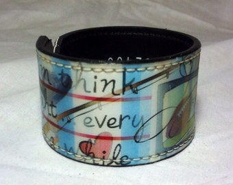Upcycled Plastic Wrist Cuff, Image Shifting Design, Womans Design