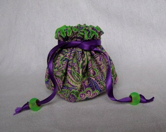 Jewelry Bag - Medium Size - Drawstring Tote - Traveling Pouch - LAAVENDER FIELD