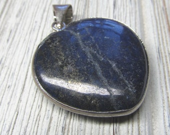 Lapis Lazuli Blue Stone With Gold Flecks Heart Pendent 30 X 30mm Focal Bead With Metal Alloy Frame and Bail -1 Piece