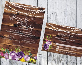 Rustic Woodgrain with Purple Flowers and String Lights Wedding Invitation and Respond Card