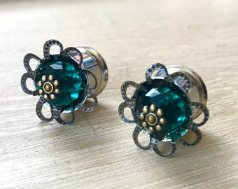 """Ear Gauges Plugs and Tunnels, Green Flower Plug Earrings for Stretched Ears, Boho Earrings - size 1/2"""" (12mm)"""