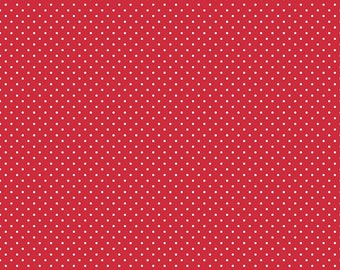 Red and White Polka Dot Fabric - Riley Blake Swiss Dot - Red Polka Dot Fabric By The 1/2 Yard