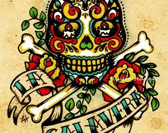 Day of the Dead Sugar Skull Tattoo Art LA CALAVERA Loteria Print 5 x 7, 8 x 10 or 11 x 14