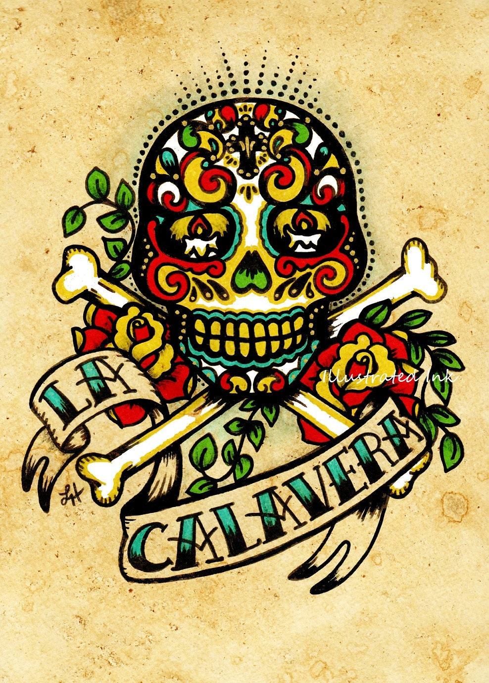 day of the dead sugar skull tattoo art la calavera loteria. Black Bedroom Furniture Sets. Home Design Ideas
