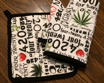 420 insulated/quilted oven mitt and pot holder set