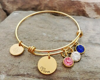 Mom Bracelet - Mom Gift - Mom Charm Bracelet - Mom Birthstone Bracelet - Mother Bracelet - Mothers Day Gift - Mother Bangle - Valentines
