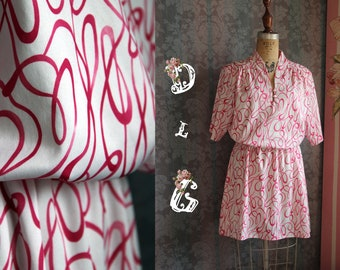 Sz S Dark Pink 70s Vintage Mini Mod Dress with Swirling Patterns Pop Art