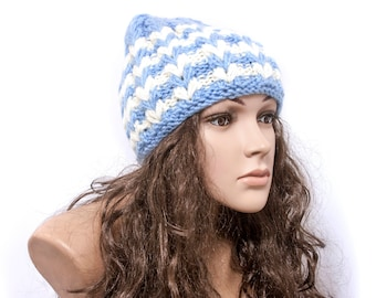 Women Hat  Striped Hat Chunky knit hat Warm ears hat Knit Accessories Gift For Her - Ready to ship