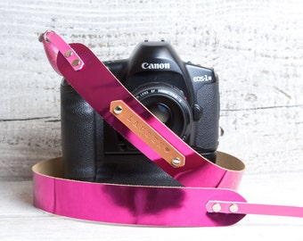 DSLR camera strap. Pink metallic leather. Monogram personalization. Perfect gift for photographer. Canon camera strap. Nikon camera strap.