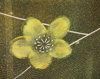 "13.9""w. x 40.1""l. Vintage kimono silk fabric dark green and yellow ume plum blossom 2959B"