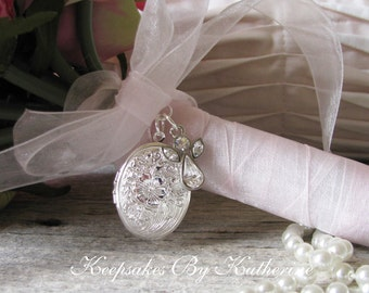 Brides Guardian Angel Bouquet Locket, Crystal Angel Locket, Brides Bouquet