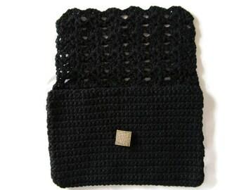 Crocheted Clutch, Black Clutch Purse, Black Handbag, Black Purse, Crocheted Purse, Pocketbook