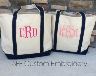 Personalized  Extra-Large Canvas Boat Tote Lots of Colors to Choose from Custom Embroidery 8872