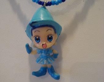 Necklace blue fairy girl