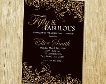 50th birthday invitation for women, Fifty and fabulous, Golden 50, Gold Glitter Glam Birthday Invite, Any age, Elegant Birthday Invitation