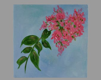 "Crepe Myrtle, Acrylic on Canvas, 6x6x1.5 inches, Unique, Original Art, ""miniature"" painting"