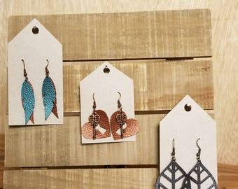 heart copper feather faux leather earrings