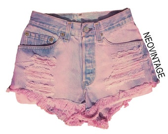 Pink Dyed High Waisted Bleached Fringed Distressed Denim Hipster Festival Shorts