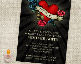 Boy Rock Star Baby Shower Rockabilly Tattoo Inspired Invitation Digital Printable File with Professional Printing Option