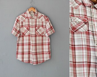 Men levis shirt, Checkered shirt, Vintage plaid mens shirt, Red Mens shirt, Plaid shirt, Button up shirt, Vintage Short sleeve shirt / Large