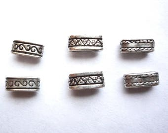 Double hole pewter spacer beads, 30 decorative 2 hole beads, 9 x 4 x 4 mm spacer