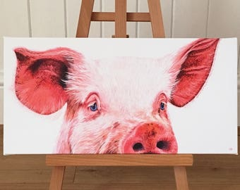 Pig - limited edition canvas print. Pig art - pig canvas - pig print - pig painting - farm animal print.