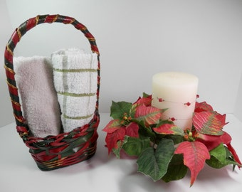 2 Pc Holiday Decor Combo Silk Poinsettia Candle Ring Christmas Wreath Green Red Metallic Gold  Basket Tabletop Centerpiece Display Gift Set