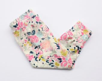 rose floral baby leggings - newborn leggings - baby clothes - newborn clothes