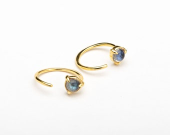 Tiny Labradorite Hug Hoops, Sterling Silver, Gold Plated, Open Hoop Earrings, Minimalist Lunaijewelry, Handmade, Gift for Mom, EAR042LBR