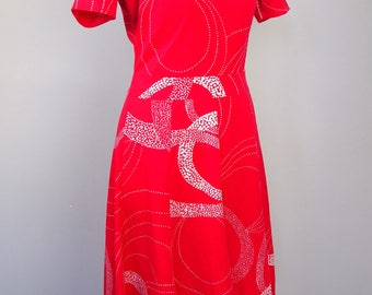 Vintage 60s Red and White Mod Party Dress