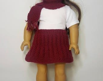 """Burgundy Knit Doll Skirt, Hat, Scarf Set - Hand-made to fit like American Girl Doll Clothes - 18"""" Doll Clothes - Knit Doll Clothes"""