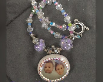 Custom crystal and glass photo necklace