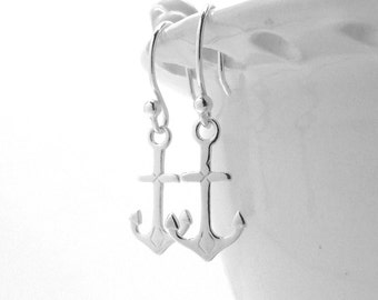 Anchor Earrings, Sterling Silver Anchor Earrings, Anchor Jewelry, Sterling Silver Jewelry, Anchor, Sterling Silver Anchor Earrings, Anchors