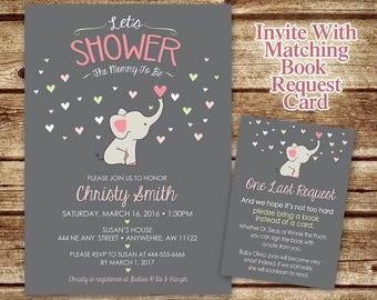 Elephant Baby Shower Invitation - Baby Elephant - Mommy to Be Shower Invitation - Elephant Invite - Elephant Girl or Boy Baby Shower