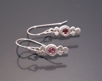Silver earrings with pink tourmalines
