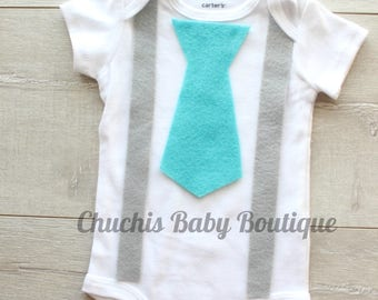 Baby Boy Easter Outfit suspender and tie Baby Onesie Baby Easter