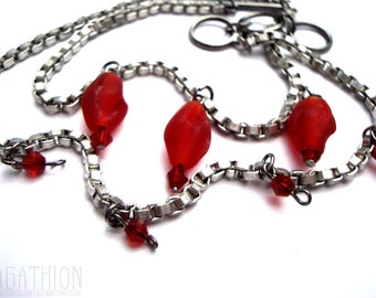 Red Charms Box Chain Wrap Bracelet long bracelet with frosted matte red glass beads red bicone beads and toggle clasp