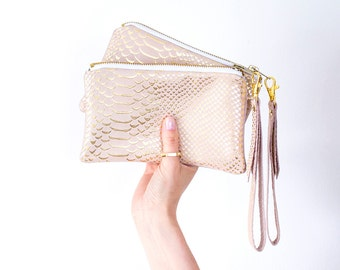 Rose Gold Leather Wristlet, Pastel Pink Bridal Pouch, Gold Pink Wedding Bag, Reptile Leather Clutch, Small Evening Clutch, Leather Pouchette