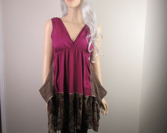 Boho Lagenlook Tunic Dress Long V-Neck Sleeveless Cotton Fuschia w/ Linen & Paisley Chiffon Size S - M
