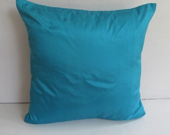tuquoise blue dupioni silk throw pillow.  Decorative cushion cover  18 inch 2 pcs  in  stock  ready  to  ship 20 % discount