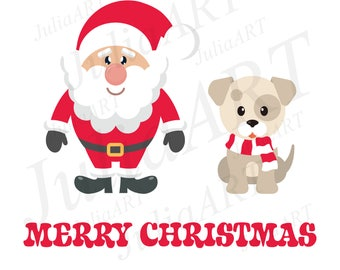 cartoon cute santa claus and winter dog with text