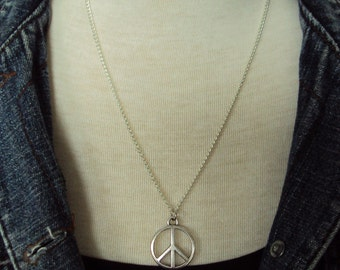 Long Chain Peace Sign Necklace