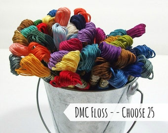 DMC Cotton Floss, Choose 25 - Embroidery Thread - Needlework - Hand Stitching